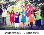 children playing kite happiness ... | Shutterstock . vector #248855041