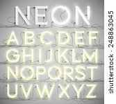 Realistic Neon Alphabet With...
