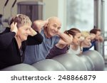 elderly couple doing pilates... | Shutterstock . vector #248866879