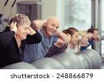 elderly couple doing pilates... | Shutterstock . vector #248866879