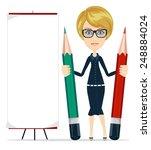 beautiful young woman writing... | Shutterstock .eps vector #248884024
