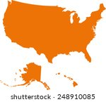 map of usa in orange color.... | Shutterstock .eps vector #248910085