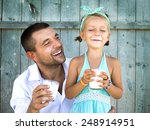 cute little girl with his... | Shutterstock . vector #248914951