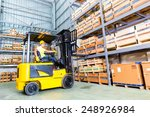 asian fork lift truck driver... | Shutterstock . vector #248926984