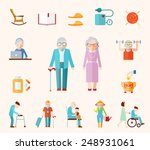 Senior Lifestyle Flat Icons Se...