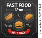 fast food chalkboard poster... | Shutterstock .eps vector #248932141