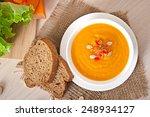 delicious cream of pumpkin soup ...   Shutterstock . vector #248934127