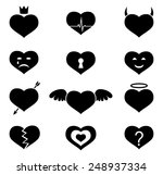 set of monochrome vector hearts ... | Shutterstock .eps vector #248937334