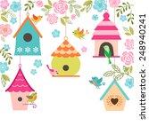 spring illustration with birds  ... | Shutterstock .eps vector #248940241