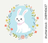 cute white rabbit and floral... | Shutterstock .eps vector #248940637