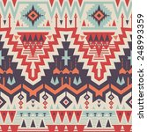 Vector Seamless Tribal Pattern. Geometrical Ethnic Print Ornament with Triangles and Stripes | Shutterstock vector #248993359