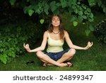 beautiful young woman outdoors...   Shutterstock . vector #24899347