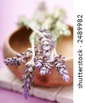 lavender on wooden bowl - stock photo