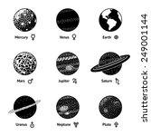 set of monochrome planet icons...   Shutterstock .eps vector #249001144