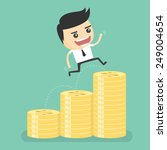 businessman jumping on the coin ... | Shutterstock .eps vector #249004654