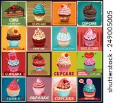 vintage cupcake poster design... | Shutterstock .eps vector #249005005