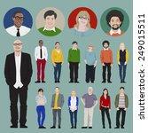 people icon set multiethnic... | Shutterstock .eps vector #249015511
