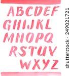 lipstick font. hand drawn red... | Shutterstock .eps vector #249021721
