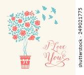 rose garden tree with birds... | Shutterstock .eps vector #249021775