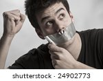man with mouth covered by... | Shutterstock . vector #24902773