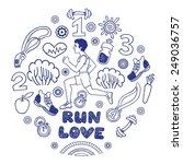 love run blue color vector... | Shutterstock .eps vector #249036757