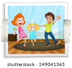 a happy family photo on a white ... | Shutterstock .eps vector #249041365
