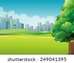 a green landscape across the... | Shutterstock .eps vector #249041395