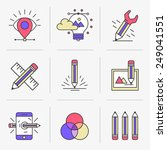 flat line icons set. vector...