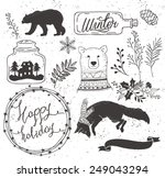 set of winter collection bear... | Shutterstock .eps vector #249043294