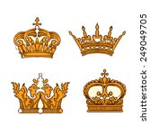 hand drawn heraldic crown set | Shutterstock .eps vector #249049705