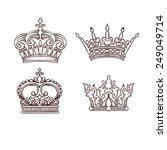 hand drawn heraldic crown set   Shutterstock .eps vector #249049714