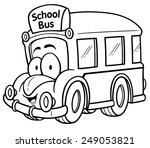 Vector illustration of School bus - Coloring book - stock vector