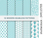 10 modern seamless geometric... | Shutterstock .eps vector #249115705