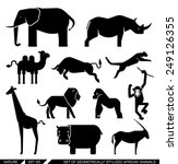 set of various african animal... | Shutterstock .eps vector #249126355