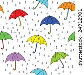 seamless umbrella and raindrops ... | Shutterstock .eps vector #24912901