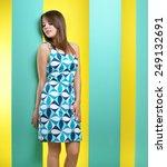 fashionable girl in a short... | Shutterstock . vector #249132691