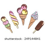 ice cream set isolated on white.... | Shutterstock .eps vector #249144841