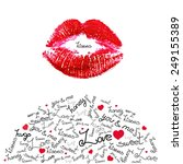 vector kiss trace and sweet... | Shutterstock .eps vector #249155389