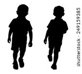 Silhouettes Of Two Little Boys...