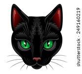 Stock vector black cat portrait on white 249160219