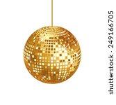 sparkling gold disco ball...   Shutterstock .eps vector #249166705