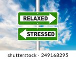 stressed and relaxed road sign... | Shutterstock . vector #249168295