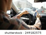 inside the car driver driving... | Shutterstock . vector #249182575