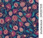 seamless bohemian pomegranate... | Shutterstock .eps vector #249207535