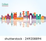 lisbon detailed skyline. vector ... | Shutterstock .eps vector #249208894