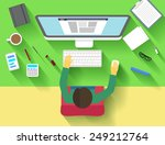 flat workspace with design... | Shutterstock .eps vector #249212764
