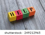 word help on colorful wooden... | Shutterstock . vector #249212965