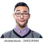 Stock photo portrait of crazy nerd with funny face 249219544