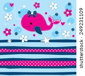cute whale with flowers vector... | Shutterstock .eps vector #249231109