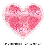 pink fine lace heart with... | Shutterstock . vector #249235429